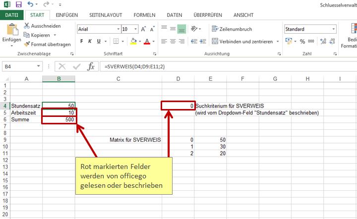Datenbank Schlüsselverwaltung > Berechnungen mit Excel Funktionen